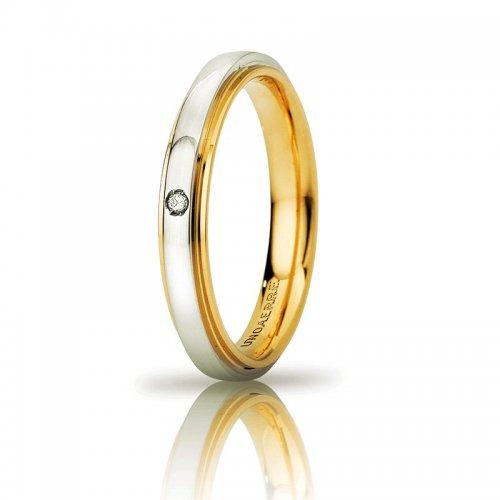 UNOAERRE Cassiopea Slim Wedding Ring with Diamond 3mm Yellow White Gold Brilliant Promises