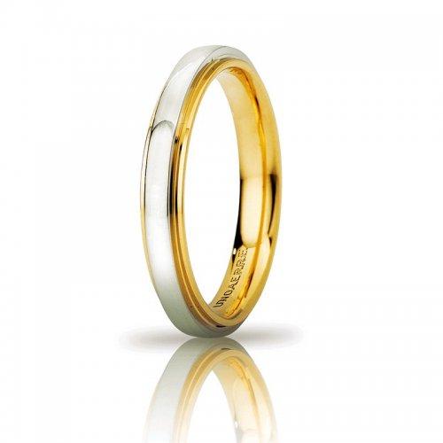UNOAERRE Cassiopea Slim Wedding Ring 3mm Yellow White Gold Brilliant Promises