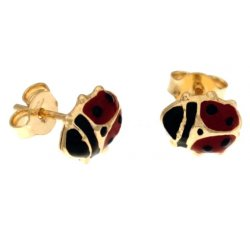 Ladybug Woman Earrings in Yellow Gold 803321703253