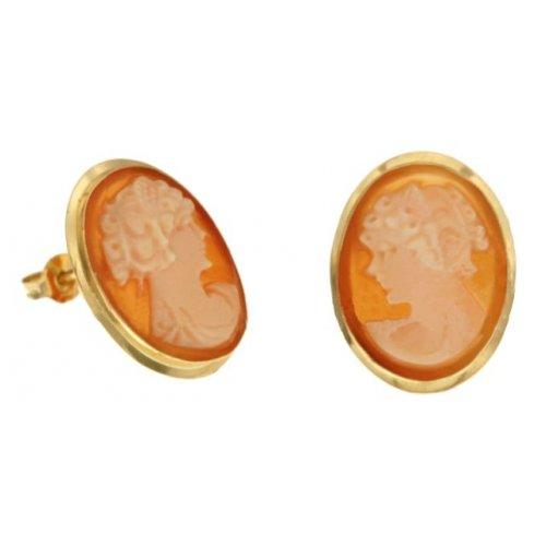 Cameo Woman Earrings in Yellow Gold 803321707306