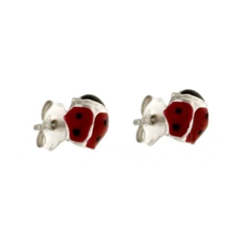 Ladybug Woman Earrings in White Gold 803321729109