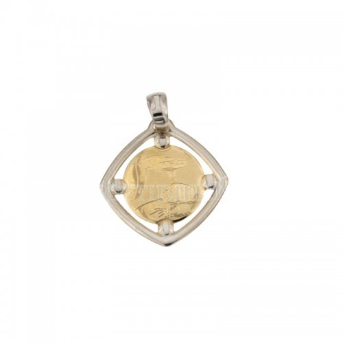 Medaglia Ciondolo da Battesimo Oro Giallo e Bianco 803321730247