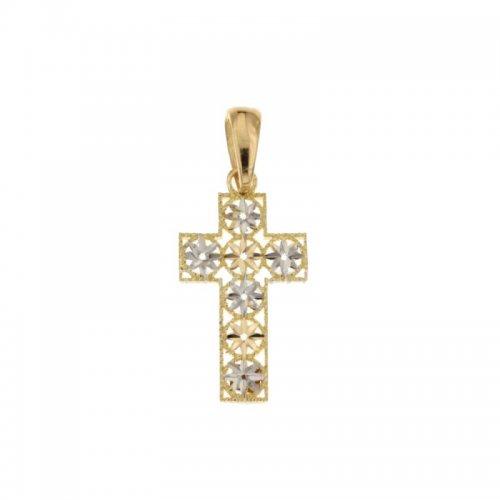 Croce da donna in Oro Giallo e Bianco 803321730828