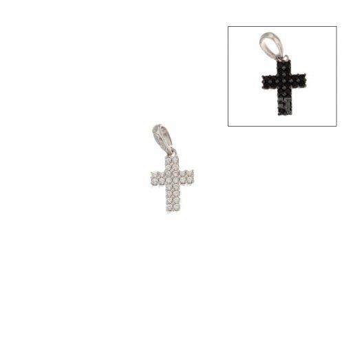 Croce da donna double face in Oro Bianco 803321725544