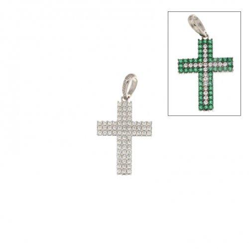 Croce da donna double face in Oro Bianco 803321725559