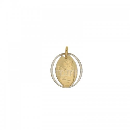 Yellow and white gold angel pendant 803321714876