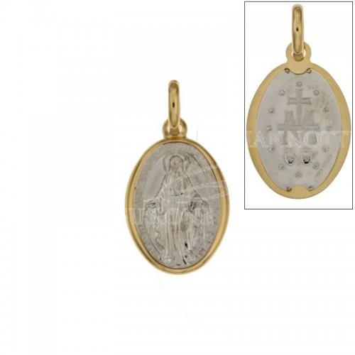 Ciondolo Madonna Miracolosa oro giallo e bianco 803321714722