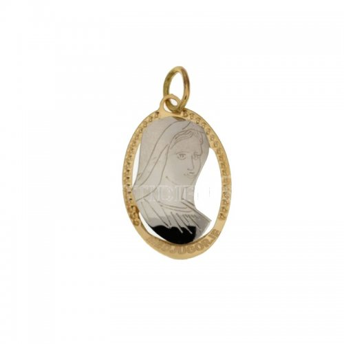 Pendant Our Lady of Medjugorje yellow and white gold 803321714774