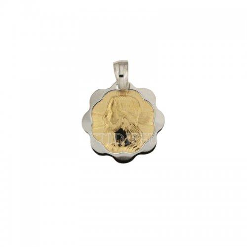 Ciondolo Gesu' oro giallo e bianco 803321706436