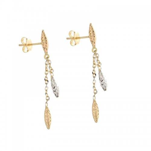 Orecchini Lunghi Donna in Oro Bianco e Giallo 803321708920