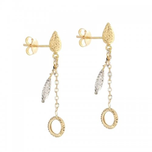 Orecchini Lunghi Donna in Oro Bianco e Giallo 803321724321
