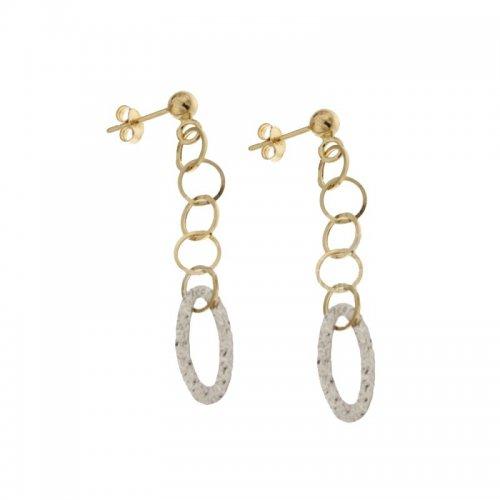 Orecchini Lunghi Donna in Oro Bianco e Giallo 803321729152