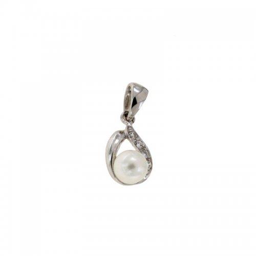 Ciondolo oro bianco con perla 803321724918