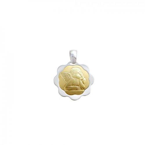 Ciondolo angelo oro giallo e bianco 80332171