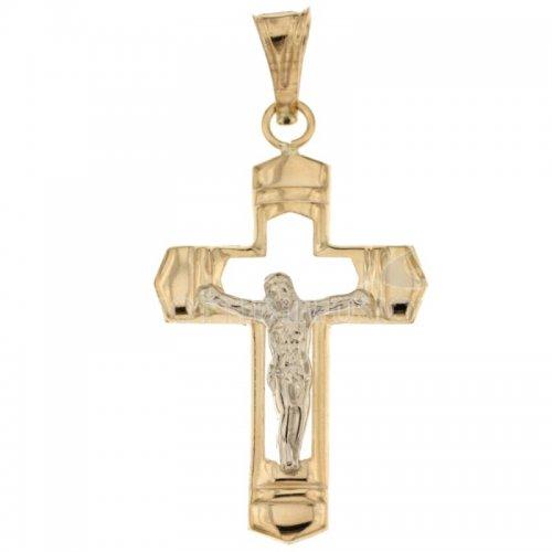 Croce da uomo in Oro Giallo e Bianco 803321708358