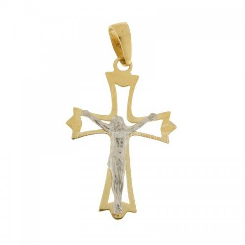 Yellow and White Gold Men's Cross 803321713985