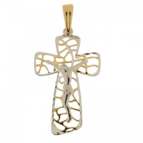 Croce da donna in Oro Giallo e Bianco 803321714303