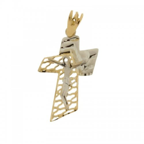 Yellow and White Gold Cross 803321714307
