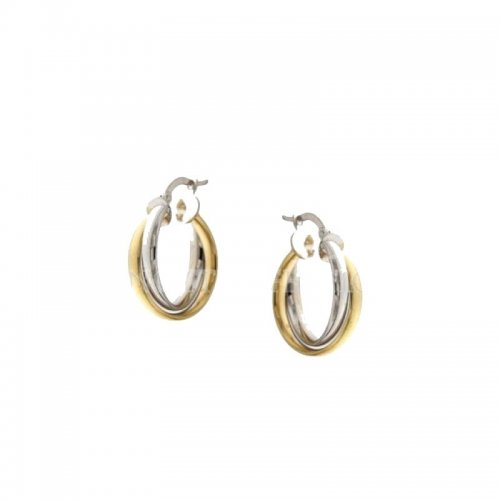 Women's Hoop Earrings White and Yellow Gold 803321728373