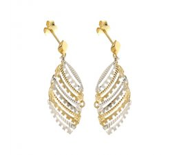 Women's Long Earrings in White and Yellow Gold 803321736172