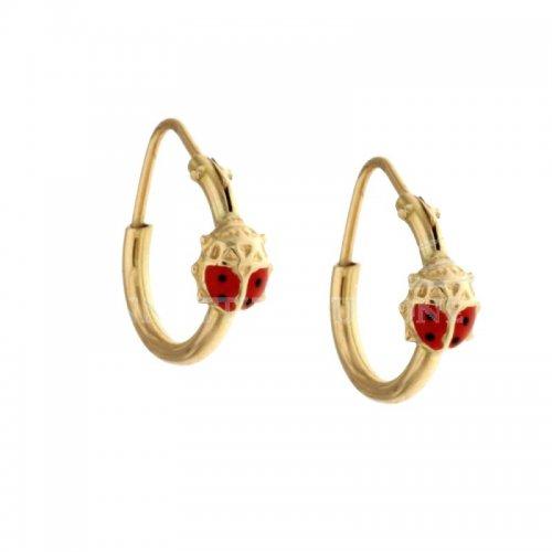 Yellow Gold Ladybug Girl Earrings 803321702876