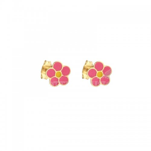 Women's earrings with yellow gold flowers 803321729106