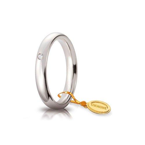 Fede Nuziale Unoaerre Comoda 3,5 mm Oro bianco con diamante