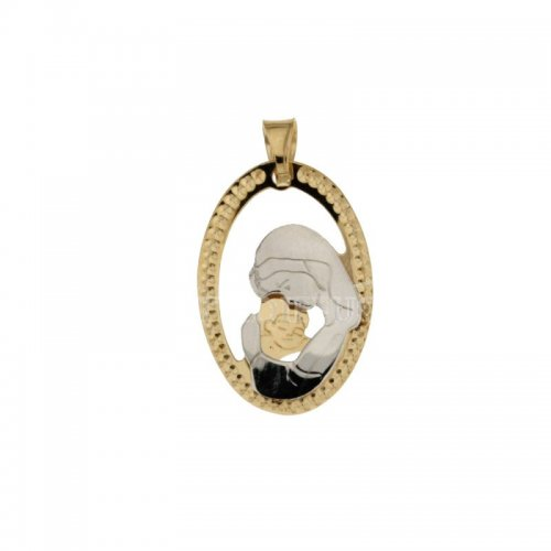 Yellow and White Gold Madonna with Child Medal 803321713079