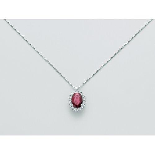 Collana Yukiko Oro bianco Rubino Diamanti CLD4102Y