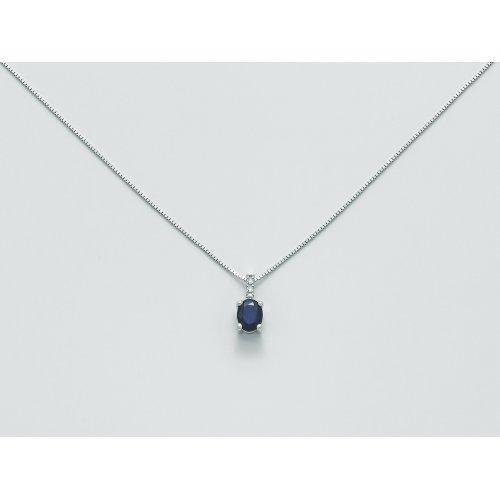Collana Yukiko Oro bianco Zaffiro blu Diamanti CLD4002Y