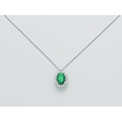 Yukiko Necklace White Gold Emerald Diamonds CLD4101Y