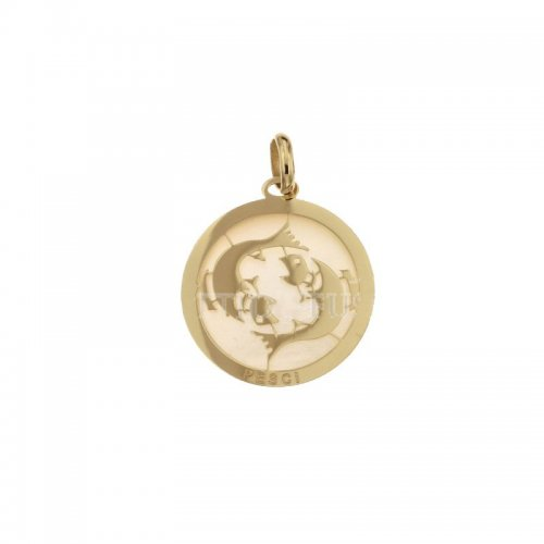 Pisces Zodiac Sign Pendant in Yellow Gold 803321733012