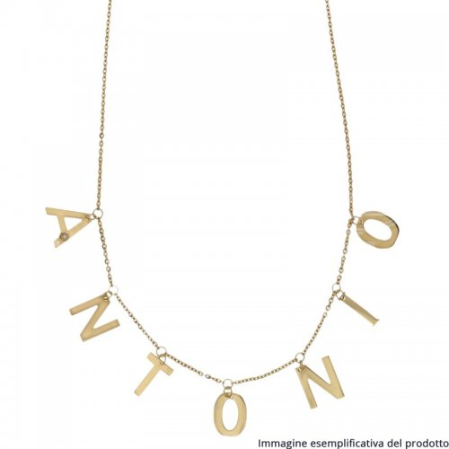 Yellow Gold Necklace Letters Pendants Customizable Name 803321737212