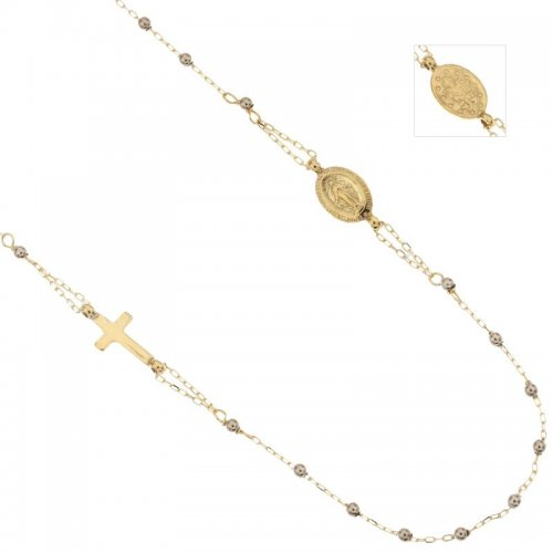 Rosary Necklace in White and Yellow Gold 803321734908