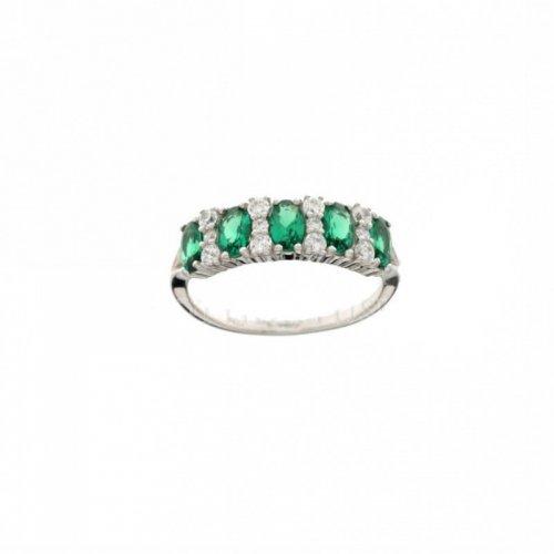 Woman Ring White Gold Green Stone 803321713729
