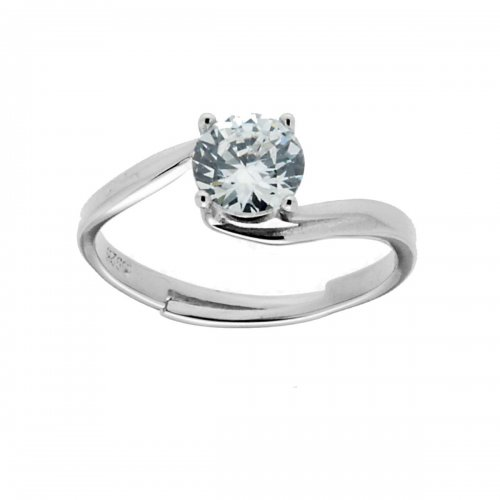 Solitaire Ring in 925 Silver with White Stone 11834