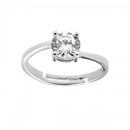 Solitaire ring in 925 silver with white stone 8755