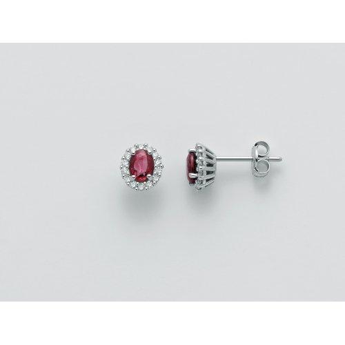 Orecchini Yukiko Diamanti e Rubini Oro Bianco ERD2402Y