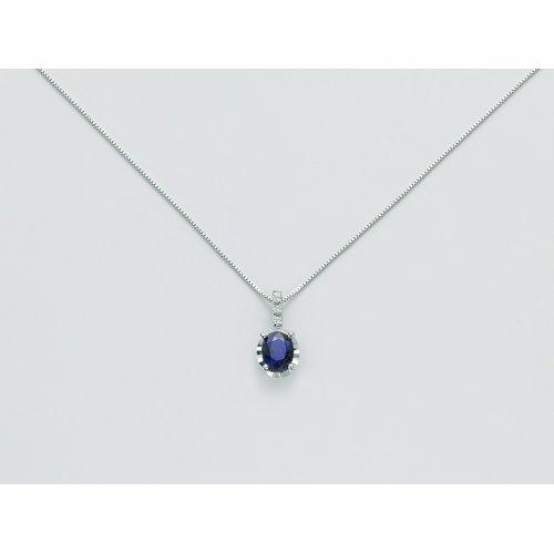 Collana Yukiko Oro bianco Zaffiro blu Diamanti CLD4194Y