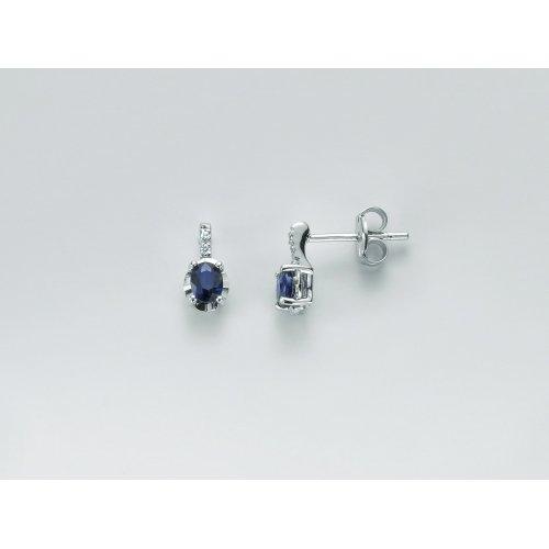 Orecchini Yukiko Diamanti e Zaffiro blu Oro Bianco ERD2471Y