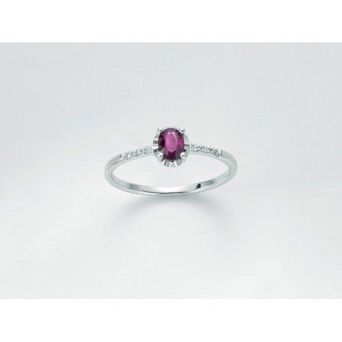 Anello Donna Yukiko oro bianco Diamanti Rubini LID3361Y