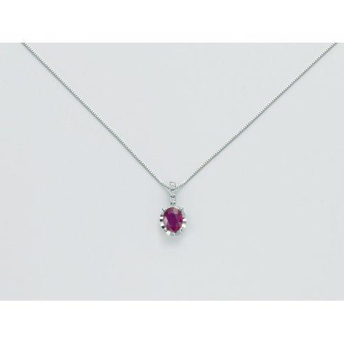 Collana Yukiko Oro bianco Rubino Diamanti CLD4195Y