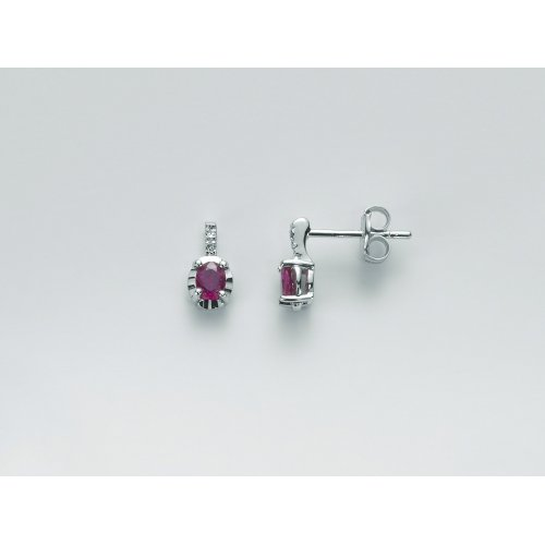Orecchini Yukiko Diamanti e Rubino Oro Bianco ERD2472Y